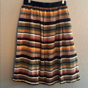 Anthropologie strip skirt with zipper on back